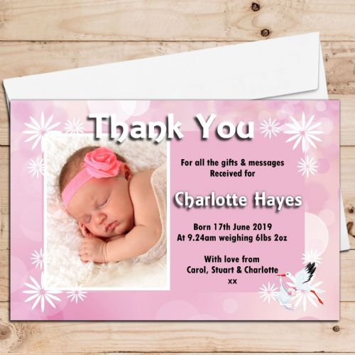 10 Personalised Stork Baby Girl Birth Announcement Thank You PHOTO Cards N78